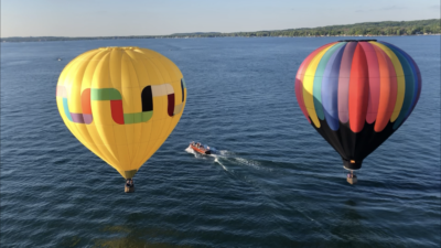 Balloon flying over the Finger Lakes
